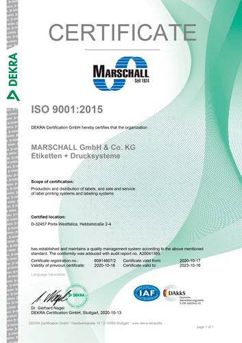 certificate iso9001 marschall