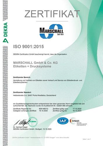 zertifikat iso9001 marschall